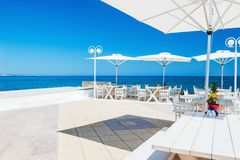Cafe on the beach, Crete, Greece. Beautiful cafe on the beach, Crete island, Greece Stock Images