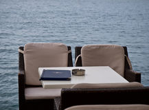 Cafe on the beach in Greece . Royalty Free Stock Photography