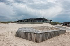 Cafe at the beach in Henne at the Danish North sea coast. Cafe at the beach in Henne at the Danish North sea  coast royalty free stock photo