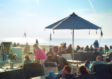 Cafe on the beach. Holland Royalty Free Stock Photography