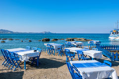 Cafe on a beach. Kolymbia. Rhodes, Greece Royalty Free Stock Image