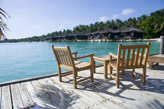 Cafe on the beach in maldives Royalty Free Stock Image