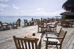 Cafe on the beach in maldives Stock Photos