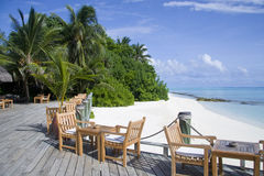 Cafe on the beach in maldives Stock Image