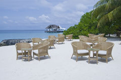 Cafe on the beach in maldives Royalty Free Stock Photography