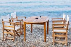 Cafe on a beach. Platamonas, Pieria, Greece Royalty Free Stock Image