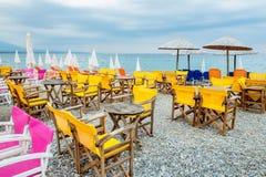 Cafe on a beach. Platamonas, Pieria, Greece Stock Image
