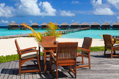 Cafe on beach resort, luxury vacation Royalty Free Stock Images