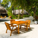 Cafe on the beach of tropical island Royalty Free Stock Image