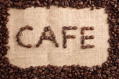 Cafe beans word royalty free stock image