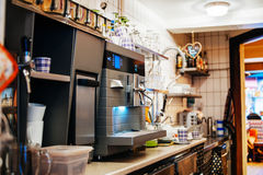 Cafe behind countertop Royalty Free Stock Photo
