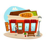 Cafe bistro building, front view, vector cartoon illustration. Cafe bistro building with waitress, front view, vector cartoon illustration Stock Photography