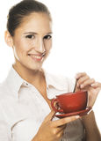 Cafe-break. Young woman with red  cup Royalty Free Stock Photos