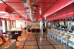 Cafe with bright interior, bar and red celling Royalty Free Stock Images