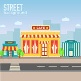 Cafe building in city space with road on flat syle Royalty Free Stock Photography