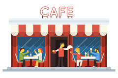Cafe Building Facade Customer People Eating Royalty Free Stock Photography