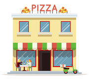 Cafe Building Facade Customer Pizza Serving Dish Icon Background Flat Design Vector Illustration Royalty Free Stock Photos