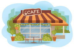 Cafe building facade with outdoor street chair seats and table. Flat style vector illustration  on white background. Stree Stock Photo