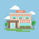 Cafe building. Cafe building outdoors with trees, sky and clouds. Beautiful illustration of restaurant or bistro Royalty Free Stock Photography