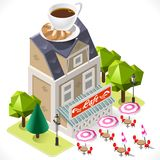 Cafe Building Tint Icon Isometric Royalty Free Stock Photo