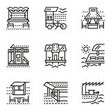 Cafe and bungalows simple line icons Stock Photography