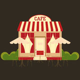 Cafe cafeteria. Street shop building facade small store front restaurant design detailed illustration Vector Stock Images
