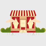 Cafe cafeteria. Street shop building facade small store front restaurant design detailed illustration Vector Royalty Free Stock Photography