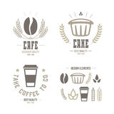 Cafe and cake emblems and icons Royalty Free Stock Photos