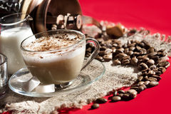 Cafe cappuccino with chocolate Royalty Free Stock Image
