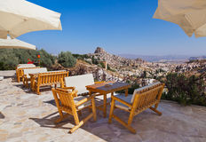 Cafe at cave city in Cappadocia Turkey. Travel background Royalty Free Stock Image