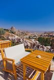 Cafe at cave city in Cappadocia Turkey. Travel background Stock Images