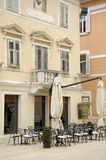 Cafe in the center of the old spa town of Umag, Europe, Croatia. royalty free stock image