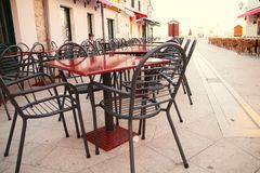 Cafe in center town. Morning in Vodice (Croatia stock images