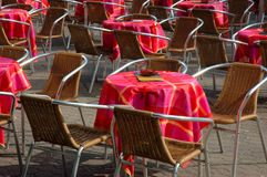 Cafe chairs. Empty cafe in the morning stock photography