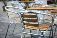 Cafe chairs. Couples of cafe chairs,made of wood and steel.location:798 art district,Beijing,China,Asia Stock Photography