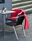 Cafe chairs with blankets - Winter season concept Stock Image
