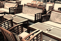 Cafe chairs and tables Royalty Free Stock Photo