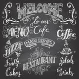 Cafe chalkboard hand-lettering Stock Photos