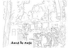 Cafe on the Champs-Elysees. Vector illustration eps8 Royalty Free Stock Photo