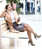 Cafe city lifestyle woman on phone Stock Photography