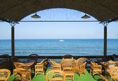 Cafe on coast of ocean Royalty Free Stock Image