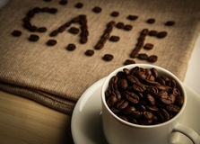 Cafe Coffee Beans Royalty Free Stock Photos