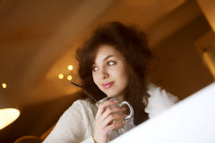 cafe coffee enjoying latte woman young Стоковая Фотография