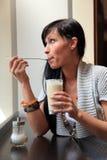 Cafe coffee girl Stock Photos