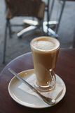 Cafe Coffee - Latte Cappuccino in a tall glass Royalty Free Stock Image