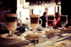 Cafe Coffee Latte in a glass Stock Photography