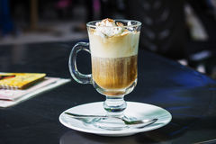 Cafe Coffee Latte in glass. Cafe Coffee - Latte in a glass with cream stock image