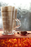 Cafe coffee latte in red glitter royalty free stock image