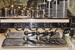 Cafe coffee machine front Stock Photos
