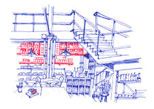 Cafe coffee shop interior line hand drawing Royalty Free Stock Images